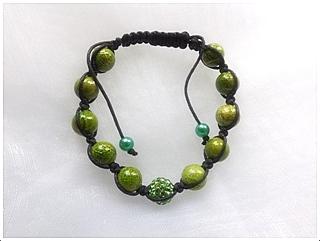 Náramek Shamballa zelený